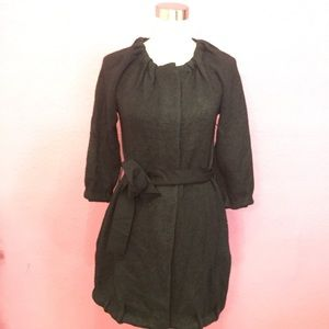 Black wool cardigan sweater with snaps & belt